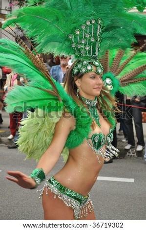 WARSAW - SEPTEMBER 5: Participant in the Carnival Parade - Bom Dia Brasil. September 5, 2009 in Warsaw, Poland. - stock photo