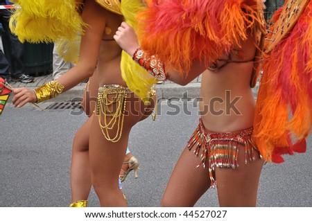 WARSAW - SEPTEMBER 5: Participants in the Carnival Parade - Bom Dia Brasil. September 5, 2009 in Warsaw, Poland. - stock photo