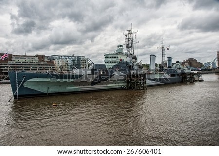 warship belfast - stock photo