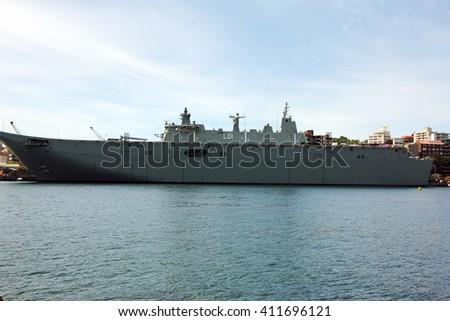 warship berth at sydney harbor - stock photo