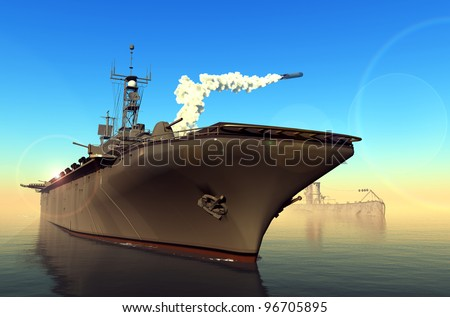 Warship in the sea makes a shot - stock photo