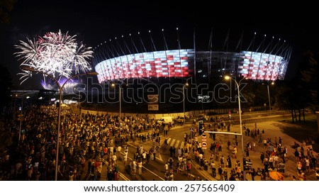 WARSOW, POLAND - SEPTEMBER 27, 2011: Illumination of the facade National Stadium in Warsaw , Poland. At this stadium will be the opening match of Euro 2012. - stock photo