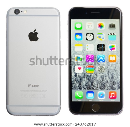 WARSZAWA, POLAND - DECEMBER 12, 2014. New Apple Iphone 6 in gray space black color side and screen, isolated on white.  - stock photo