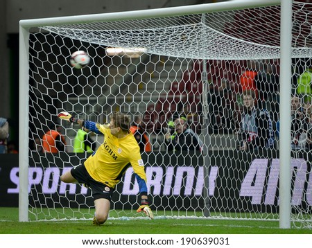 WARSZAWA, POLAND - MAY 02, 2014: Goalkeeper Silvio Rodic during penalty kicks in Polish Cup Final between Zawisza Bydgoszcz - KGHM Zaglebie Lubin 6:5 (0:0). - stock photo