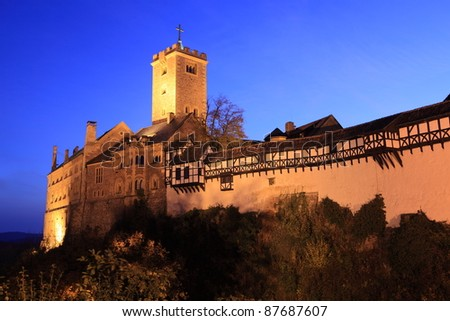 wartburg castle in germany at night