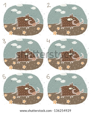 Warthog Visual Game for children. Task: Find two identical images (match the pair)! Answer: No. 3 and 5. (for vector see image 114653230) - stock photo