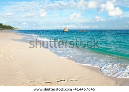 Warwick Long Bay Beach Bermuda - stock photo