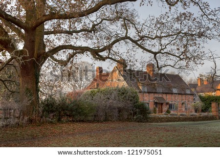 Warwickshire village on a Winters morning, England - stock photo