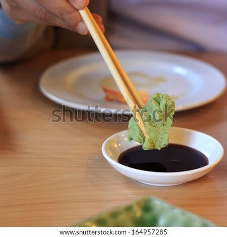 Wasabi and soy sauce seasoning of japanese food  - stock photo