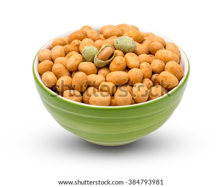 wasabi crispy peanut snack balls  in a cup isolated on white background. with clipping paths. - stock photo