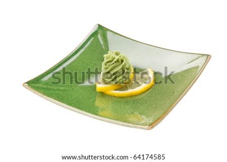 wasabi on the lemon - stock photo
