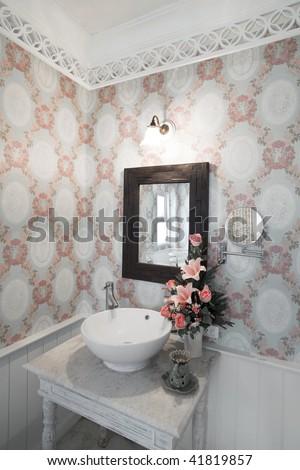 wash basin in spa room - stock photo