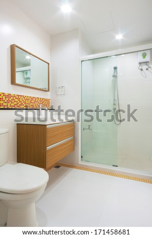 wash basin with drawer in toilet and bathroom - stock photo