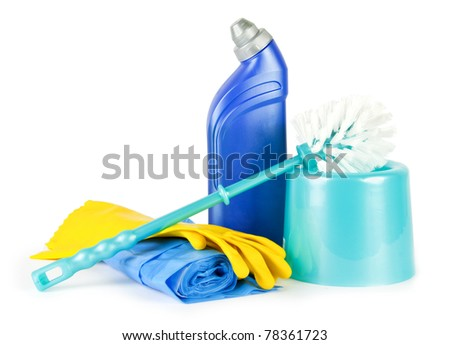 Wash bottle, brush, gloves and bags on white