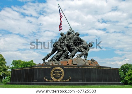 WASH DC - CIRCA JULY 2009: Iwo Jima Memorial circa July 2009 in Wash DC, USA. Memorial dedicated to all personnel of United States Marine Corps who have died in defense of their country since 1775. - stock photo