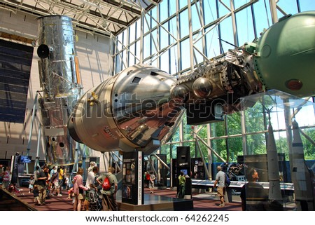 WASH DC - CIRCA JUNE 09: National Air and Space museum circa June 09 in Washington DC, USA. It was established in 1946 and holds the largest collection of historic aircraft and spacecraft in world. - stock photo