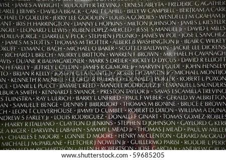 WASH DC JULY 14 Names of Vietnam war casualties on