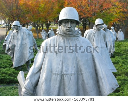 WASH DC - OCTOBER 10: Sculptures at Korean war veterans memorial in Washington DC October 10, 2012. The memorial was dedicated July 27, 1995, the 42nd anniversary of the armistice ending the war. - stock photo