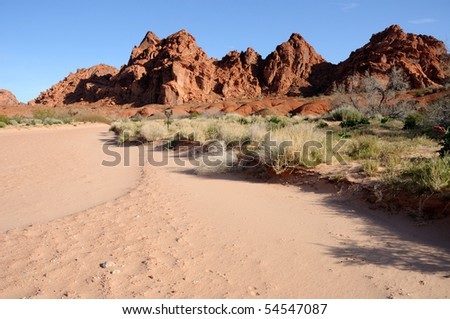 Wash in Valley of Fire State Park, Nevada - stock photo