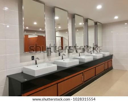 Wash Sink Big Mirror Public Toilet Stock Photo 1028315554
