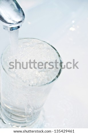 wash-sink with glass - stock photo