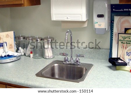 Wash station at medical doctor's office - stock photo