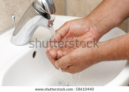 Wash your hands by rinsing them under running water