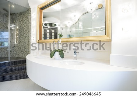 Washbasin in luxury bathroom in modern house
