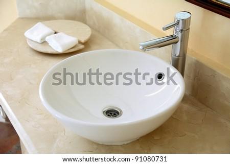 washbasin in the bathroom - stock photo