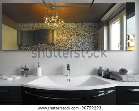 washbasin in the modern bathroom - stock photo