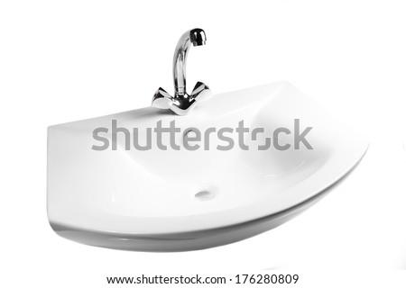 Washbasin isolated on white background - stock photo