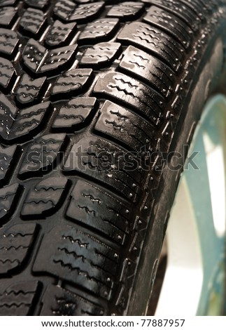 Washed car tire detail shot - stock photo