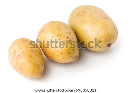 washed potatoes on a white background, isolated