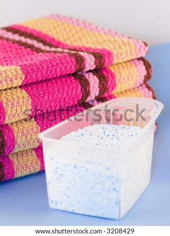Washed wipers and measure with laundry powder - stock photo