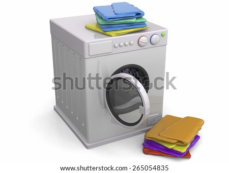 Washer and clothing on white background