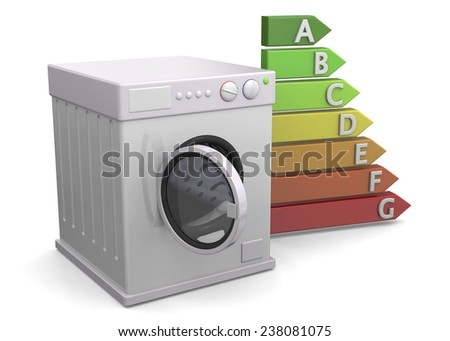 Washer and Energy Saving Concept - 3D - stock photo