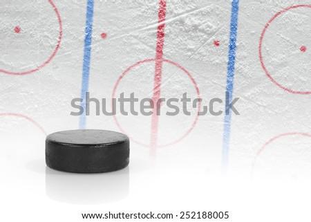Washer and mock hockey rink. Concept, hockey - stock photo