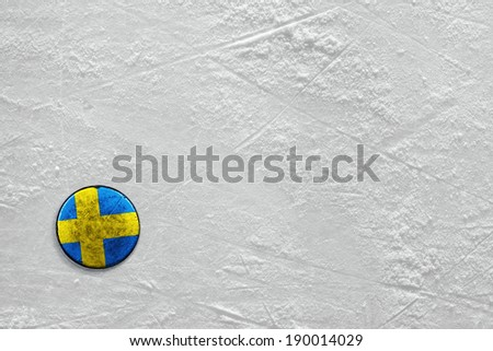 Washer with the image of the Swedish flag on a hockey rink
