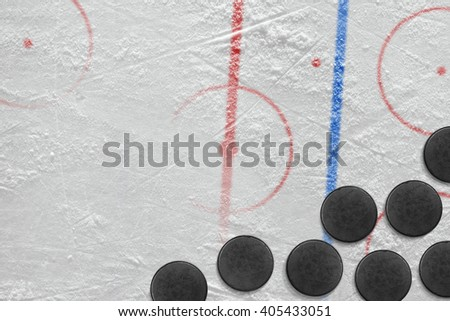 Washers in the ice hockey rink. Concept, hockey background
