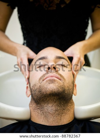 Washing hair at the Beauty shop