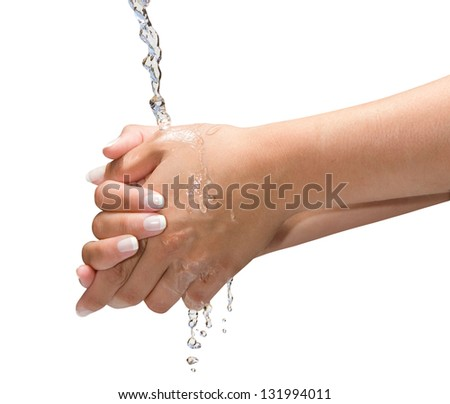Washing Hands Isolated with clipping path on a neutral background