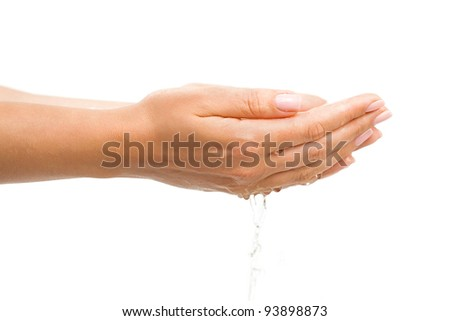 Washing hands with splashing and drops on white background