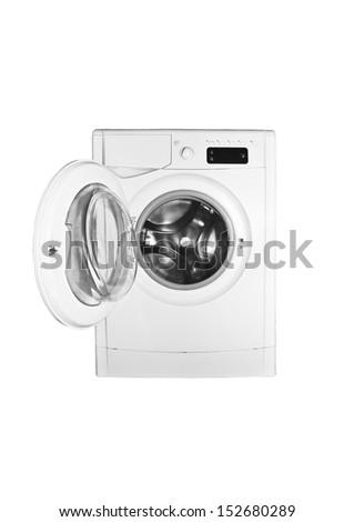 Washing machine isolated on white - stock photo