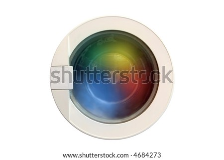 Washing machine running with colorful cloths - stock photo