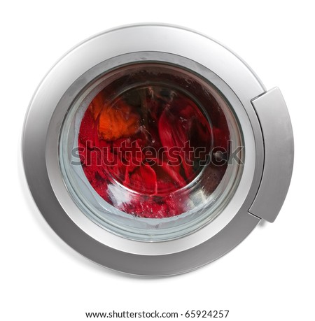 Washing machine window isolated - stock photo