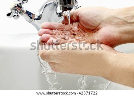 washing of hands - stock photo