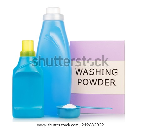 Washing powder and cleaning items isolated on white - stock photo