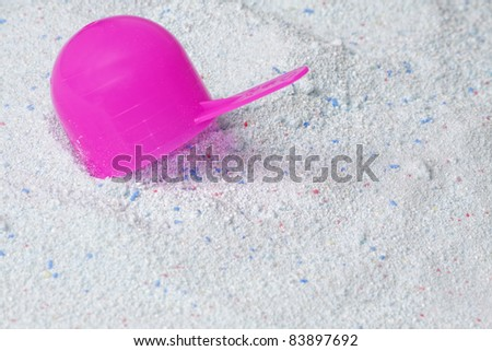 washing powder with scoop - stock photo