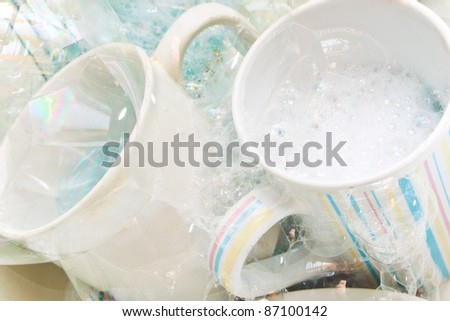 Washing the dishes - stock photo