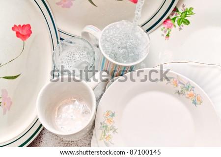 Washing the dishes - stock photo